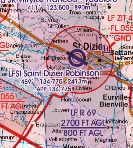 Frankreich VFR Luftfahrtkarte Militärflugplatz