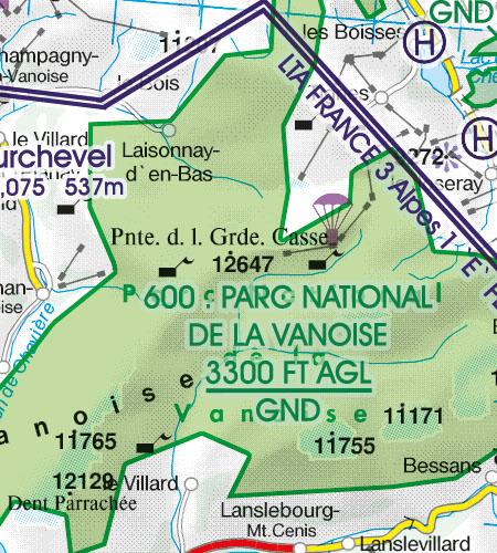 Frankreich VFR Luftfahrtkarte Naturschutzgebiet Fauna