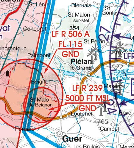 Frankreich VFR Luftfahrtkarte Restricted Area