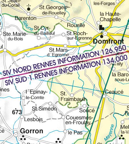 Frankreich VFR Luftfahrtkarte SIV FIS Flug-information