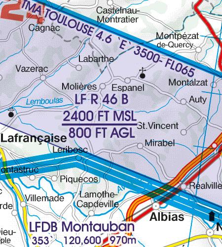 Frankreich VFR Luftfahrtkarte Tiefflugstrecken