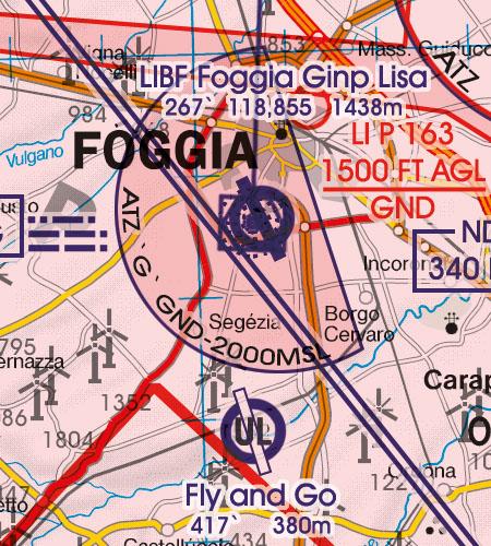 Italien VFR Luftfahrtkarte ATZ Flugplatzverkehrszonen