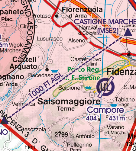 Italien VFR Luftfahrtkarte Anflugverfahren