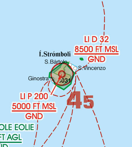 Italien VFR Luftfahrtkarte Gefahrengebiet Luftsperrgebiet