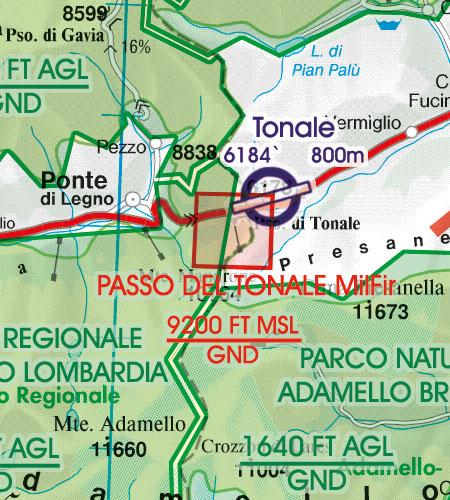 Italien VFR Luftfahrtkarte Militär Schiessgebiet Übungsgebiet