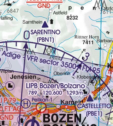 Italien VFR Luftfahrtkarte Sichtflugsektor VFR Sektor