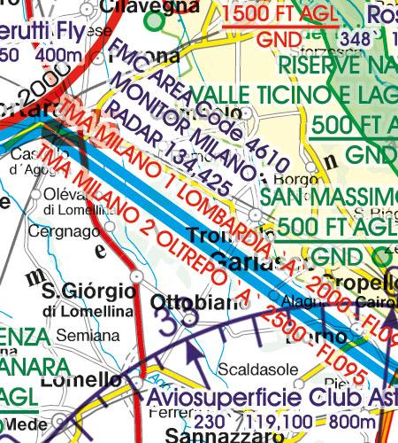 Italien VFR Luftfahrtkarte TMA Nahkontrollbezirk