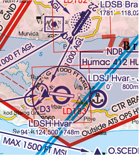 Kroatien Bosnien Herzegowina VFR Luftfahrtkarte ATZ Flugplatzverkehrszonen