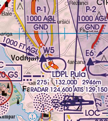 Kroatien Bosnien Herzegowina VFR Luftfahrtkarte Anflugverfahren