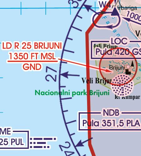 Kroatien Bosnien Herzegowina VFR Luftfahrtkarte Gefahrengebiet