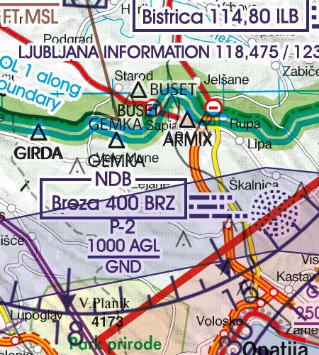 Kroatien Bosnien Herzegowina VFR Luftfahrtkarte Grenzüberflugspunkte