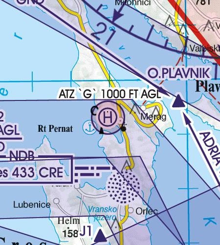 Kroatien Bosnien Herzegowina VFR Luftfahrtkarte Hubschrauberlandeplatz