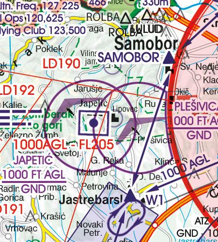 Kroatien Bosnien Herzegowina VFR Luftfahrtkarte Luftsportgebiet Erholungsaktivität