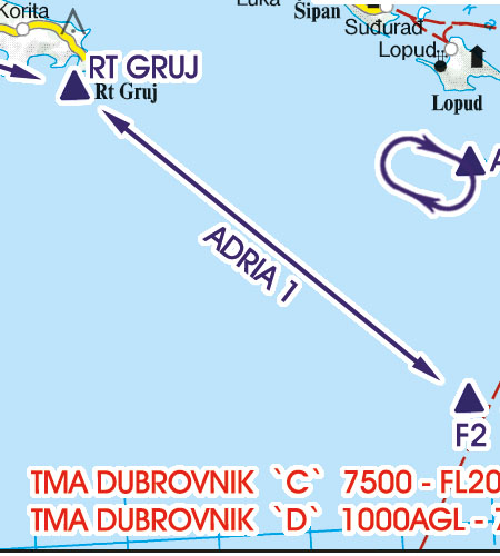 Kroatien Bosnien Herzegowina VFR Luftfahrtkarte Sichtflugstrecke