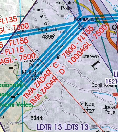 Kroatien Bosnien Herzegowina VFR Luftfahrtkarte TMA