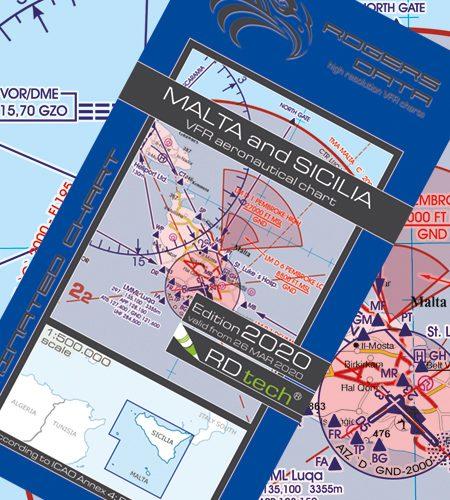 Malta Sizilien VFR Luftfahrtkarte - ICAO Karte 500k 2020