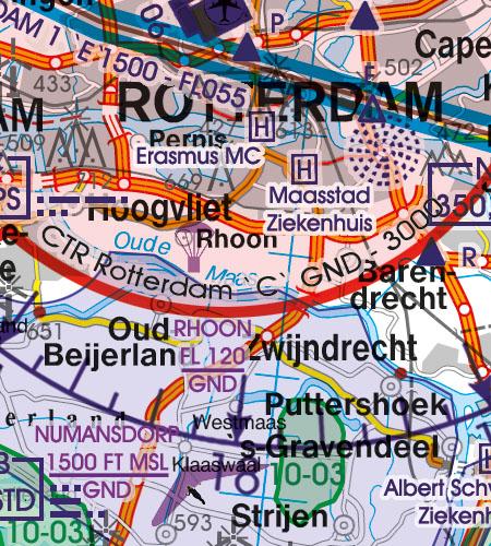 Niederlande VFR Luftfahrtkarte CTR Kontrollzone