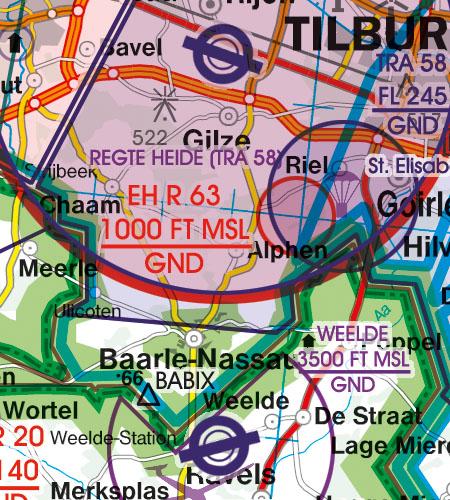 Niederlande VFR Luftfahrtkarte Flugbeschränkungsgebiet