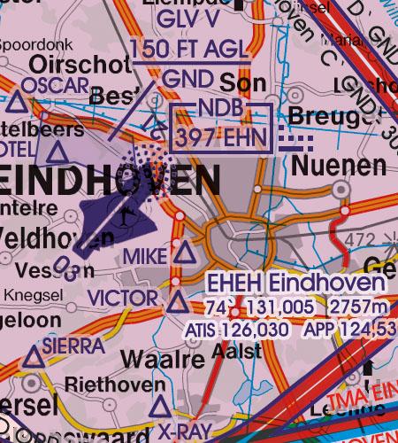 Niederlande VFR Luftfahrtkarte Flughafen Eindhoven