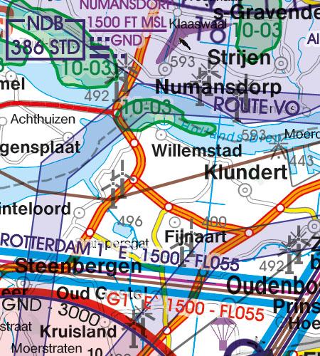 Niederlande VFR Luftfahrtkarte Militär Tiefflugstrecke