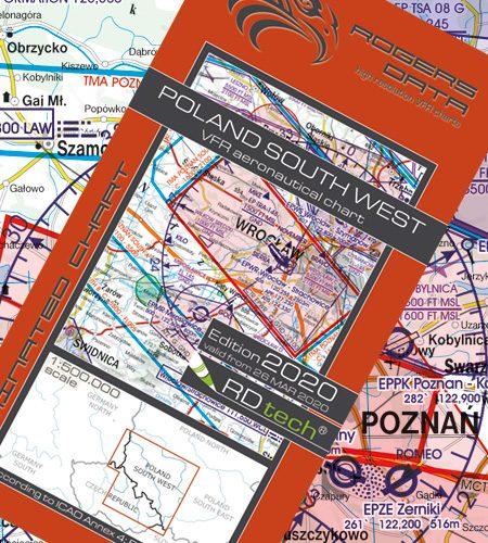 Polen Süd West VFR Luftfahrtkarte - ICAO Karte 500k 2020