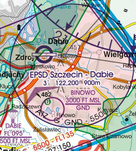Polen VFR Luftfahrtkarte ATZ Flugplatzverkehrszonen