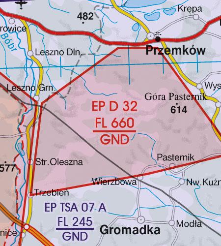 Polen VFR Luftfahrtkarte Danger Area