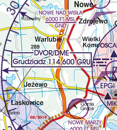 Polen VFR Luftfahrtkarte Funknavigationsanlage