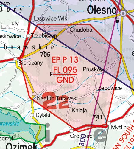Polen VFR Luftfahrtkarte Gefahrengebiet Luftsperrgebiet