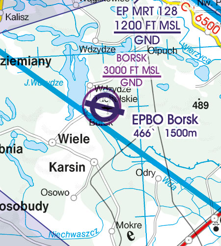 Polen VFR Luftfahrtkarte Luftsportgebiet Erholungsaktivität