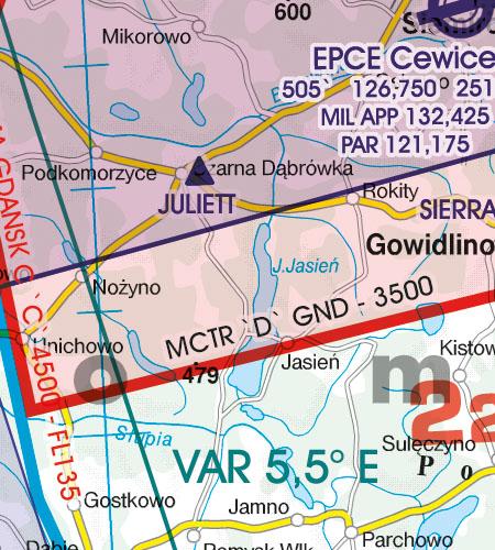 Polen VFR Luftfahrtkarte MATZ Flugplatzverkehrszone