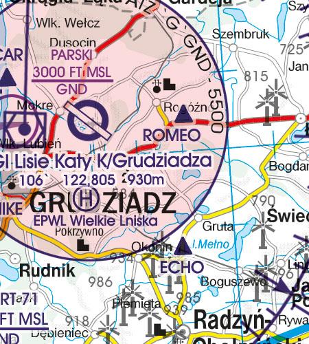 Polen VFR Luftfahrtkarte Meldepunkte