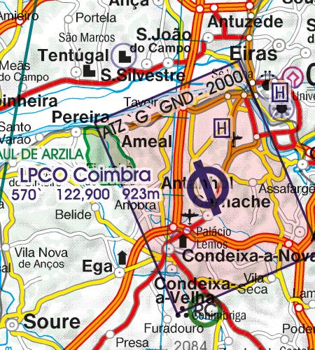 Portugal VFR Luftfahrtkarte ATZ Flugplatzverkehszone