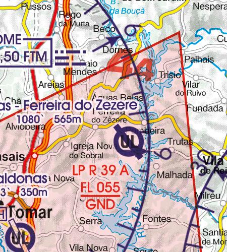 Portugal VFR Luftfahrtkarte Flugbeschränkungsgebiet