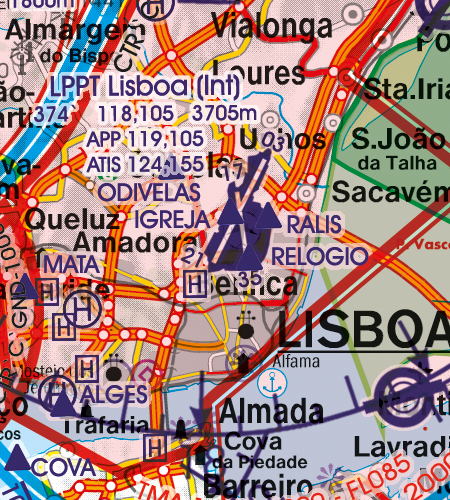 Portugal VFR Luftfahrtkarte Flughafen Lisboa