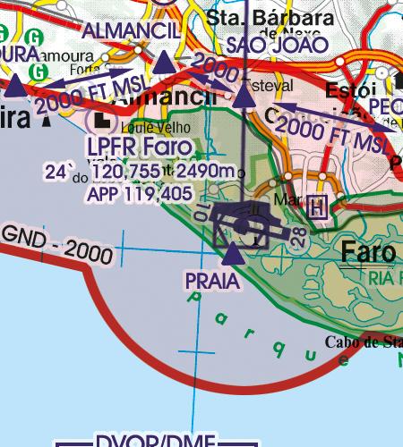 Portugal VFR Luftfahrtkarte Flughafen