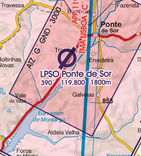 Portugal VFR Luftfahrtkarte Flugplatz
