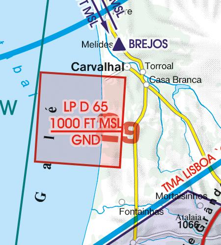 Portugal VFR Luftfahrtkarte Gefahrengebiet