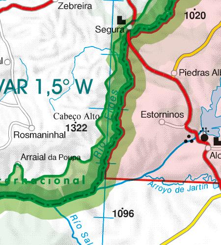 Portugal VFR Luftfahrtkarte Grenzueberflugspunkte