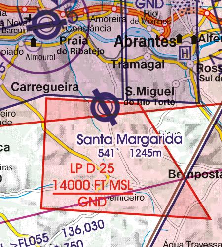 Portugal VFR Luftfahrtkarte Militärflugplatz
