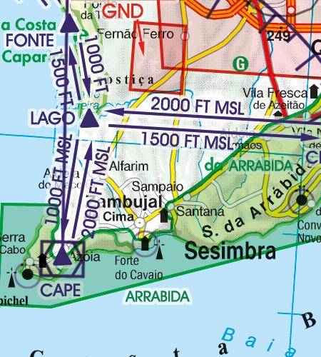Portugal VFR Luftfahrtkarte Sichtflugstrecken