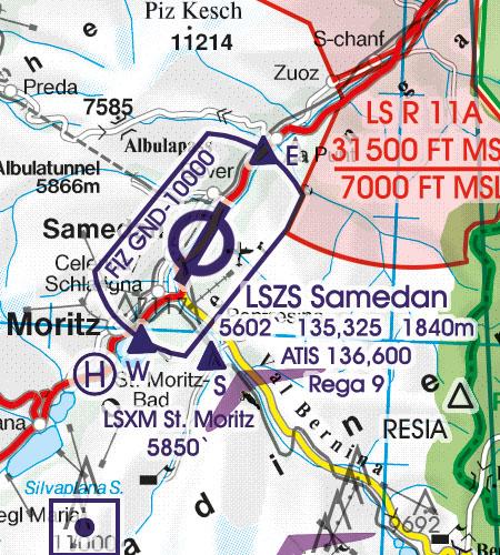 Schweiz VFR Luftfahrtkarte ATZ Flugplatzverkehrszonen