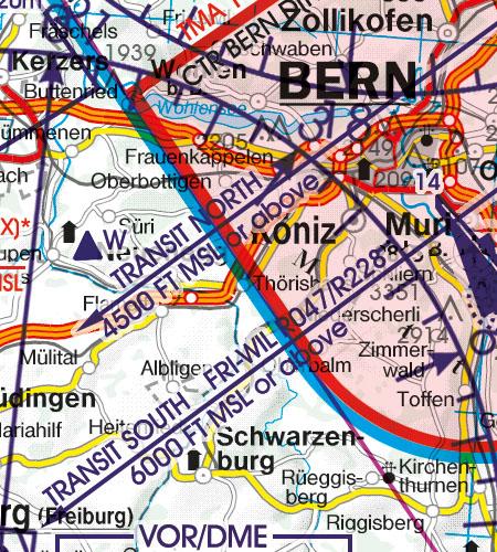 Schweiz VFR Luftfahrtkarte Anflugverfahren