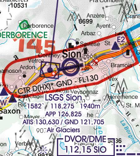 Schweiz VFR Luftfahrtkarte CTR Kontrollzone Sichtflugkarte