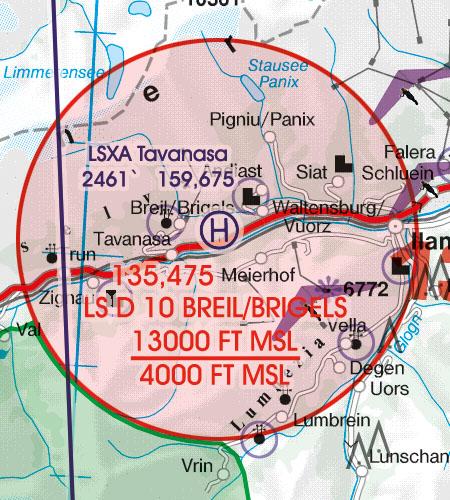 Schweiz VFR Luftfahrtkarte Flugbeschränkungsgebiet