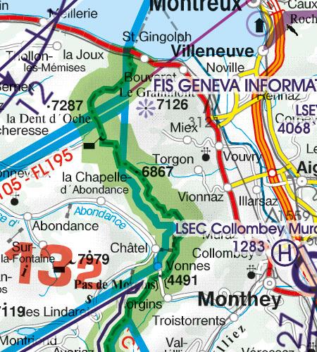 Schweiz VFR Luftfahrtkarte Grenzueberflugspunkte
