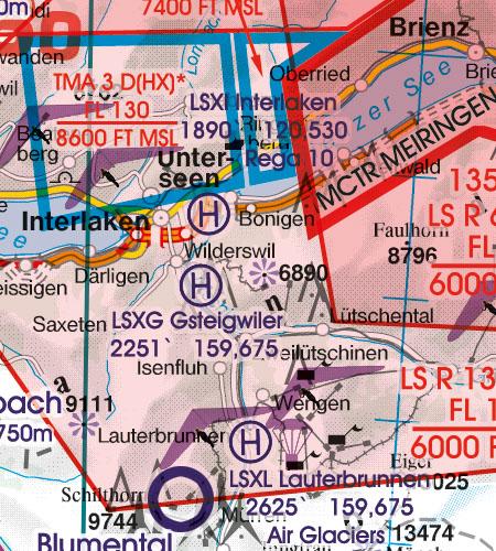 Schweiz VFR Luftfahrtkarte Hubschrauberlandeplatz