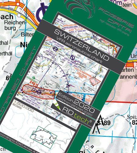 Schweiz VFR Luftfahrtkarte - ICAO Karte 500k 2020