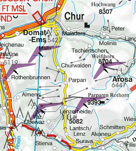 Schweiz VFR Luftfahrtkarte Luftsportgebiet Erholungsaktivitäten