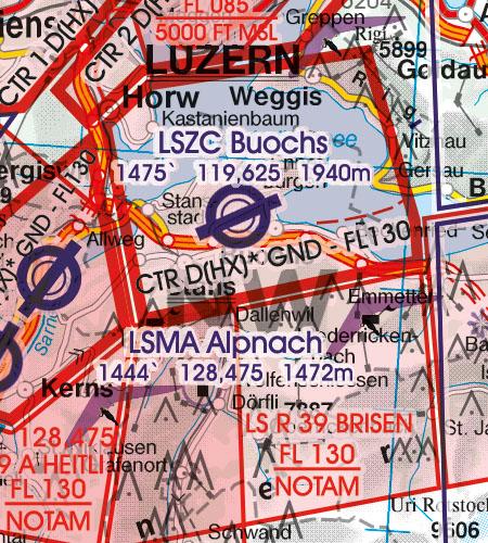 Schweiz VFR Luftfahrtkarte Militärflugplatz